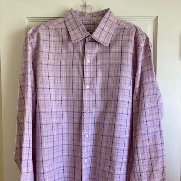 Tasso Elba Mens Dress Shirt L 16 16 1/2 Check EUC
